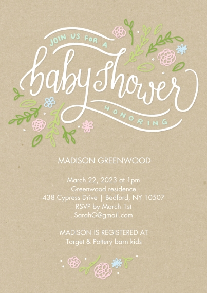 Baby Shower Invitations Flat Matte Photo Paper Cards with Envelopes, 5x7, Card & Stationery -Baby Shower Floral Handlettered by Tumbalina