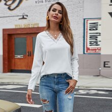V-neck Lace Panel Solid Blouse