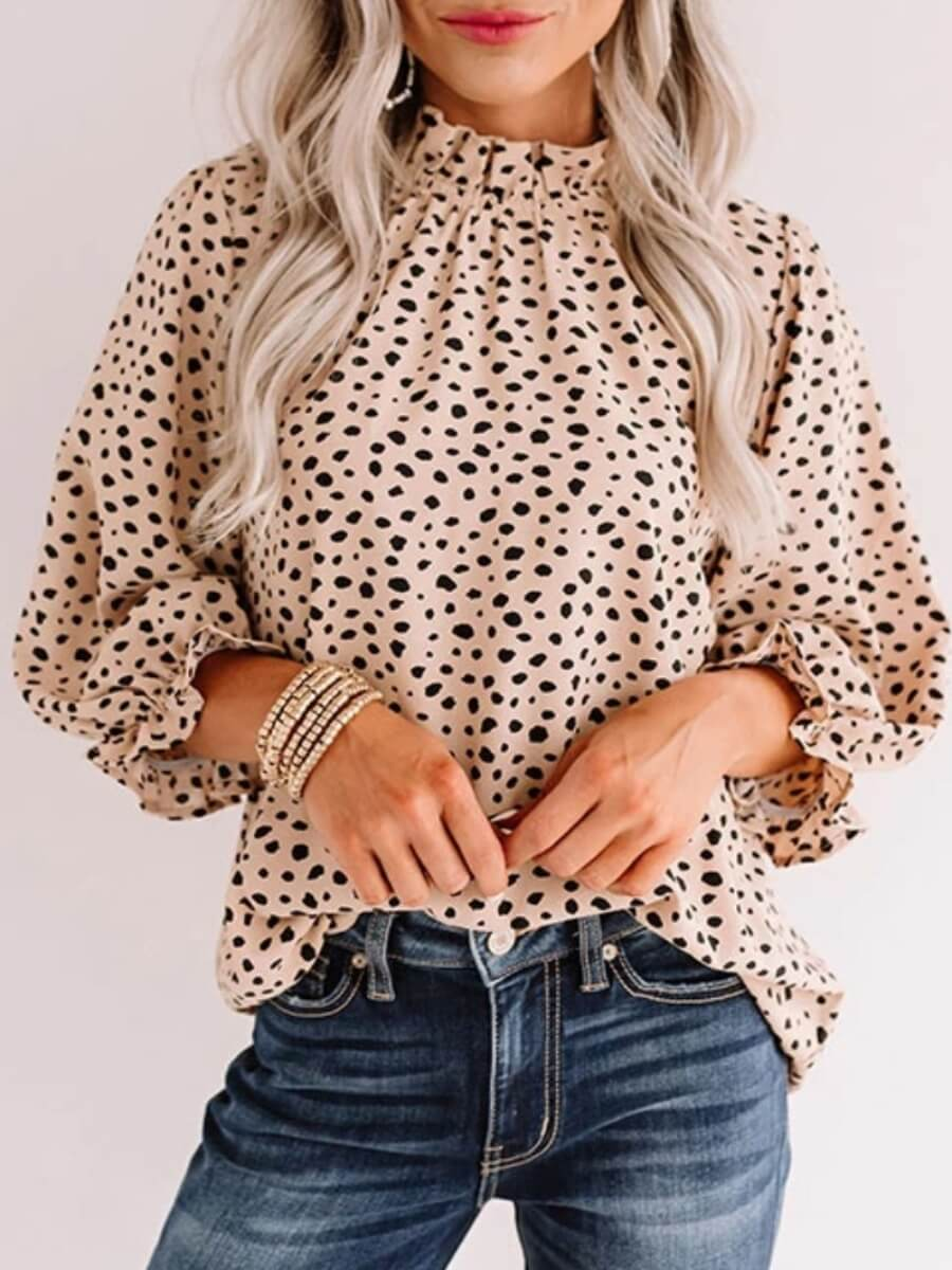 LW Lovely Stylish Stringy Selvedge Leopard Print Blouse