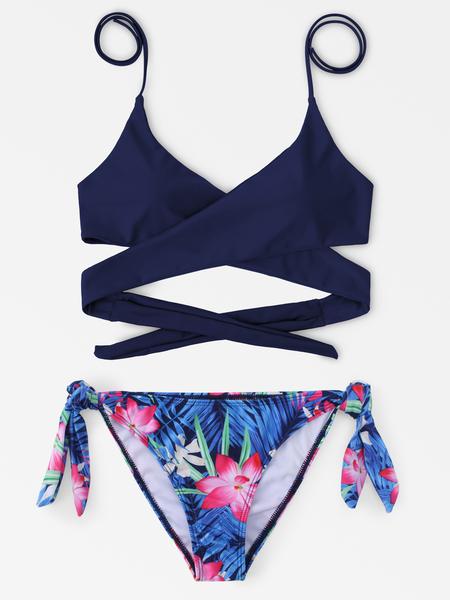 Yoins Navy and Random Tropical Floral Print Cross Front Bikini Set