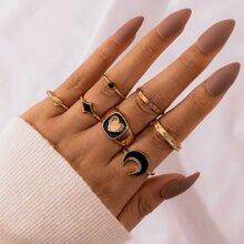 7pcs Moon Design Ring