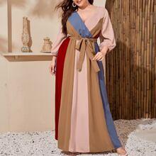 Vestido maxi cin cinturon de color combinado de manga farol