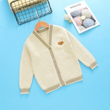 Boys V-Neck Cartoon Embroidery Cardigan