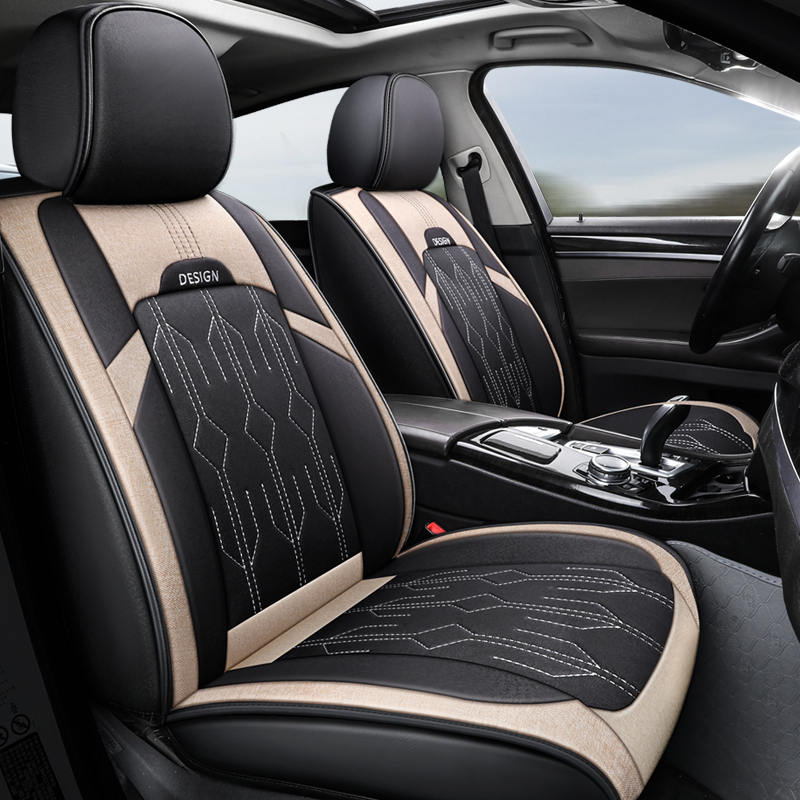 5-Seater Full Coverage Breathable Linen Fabric Wear-resisting Easy To Clean Good Air Permeability Skin Friendly Detachable Headrest Cover Airbag Compa