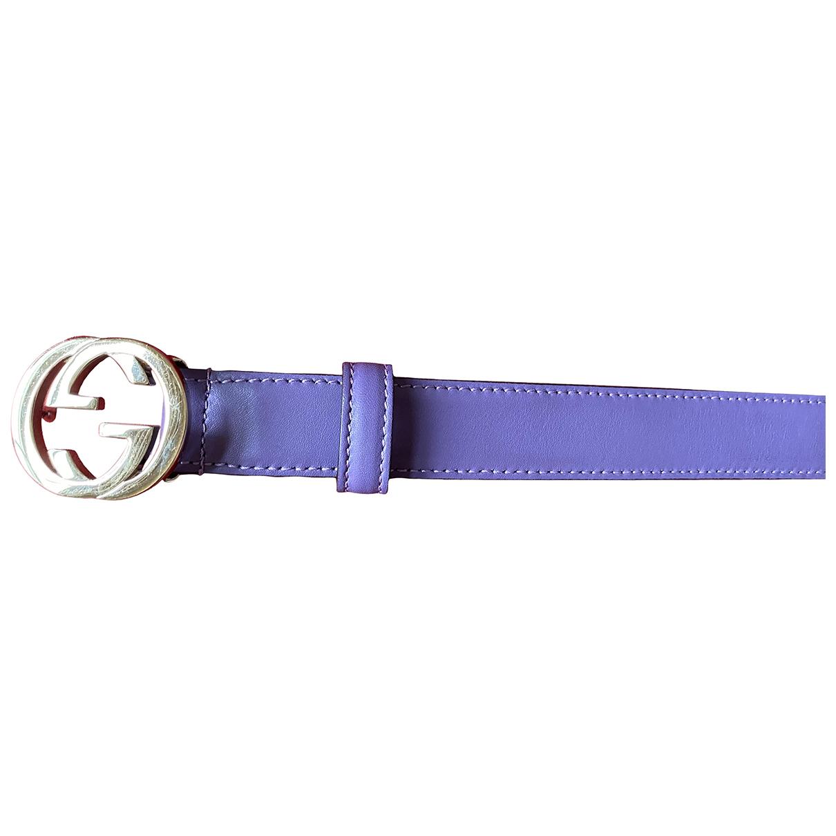 Gucci Interlocking Buckle Purple Leather belt for Women 80 cm