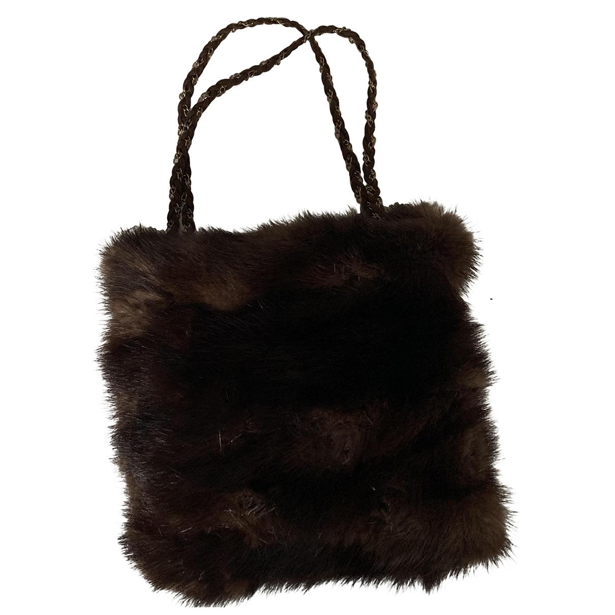 Non Signé / Unsigned \N Brown Mink handbag for Women \N