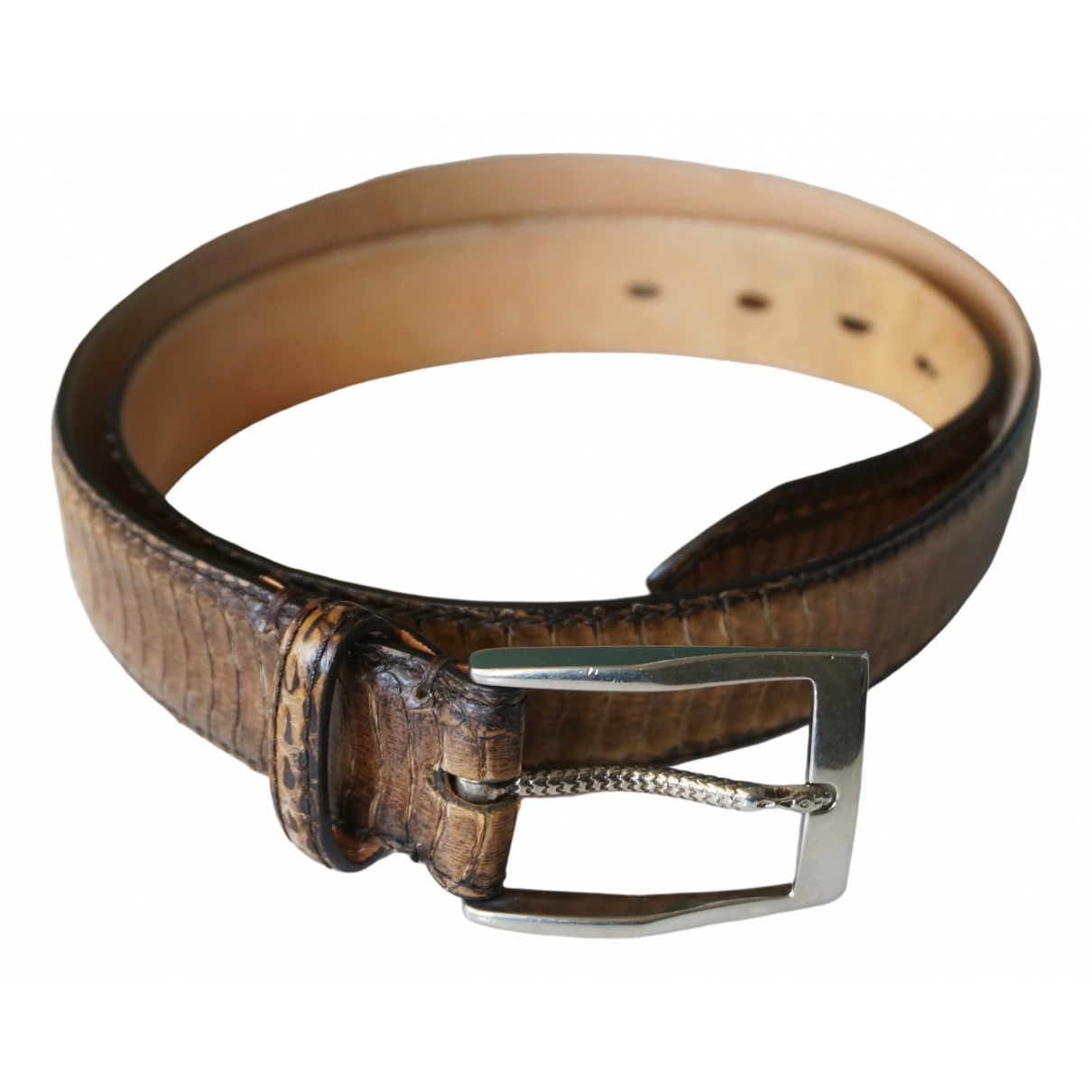 Non Signé / Unsigned \N Brown Exotic leathers belt for Men 95 cm