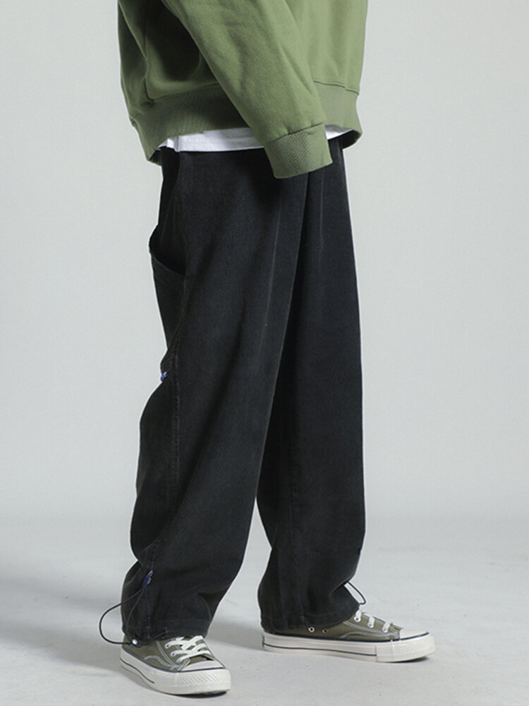 Mens Corduroy Drawstring Loose Casual Adjustable Cuff Pants With Draw Cords