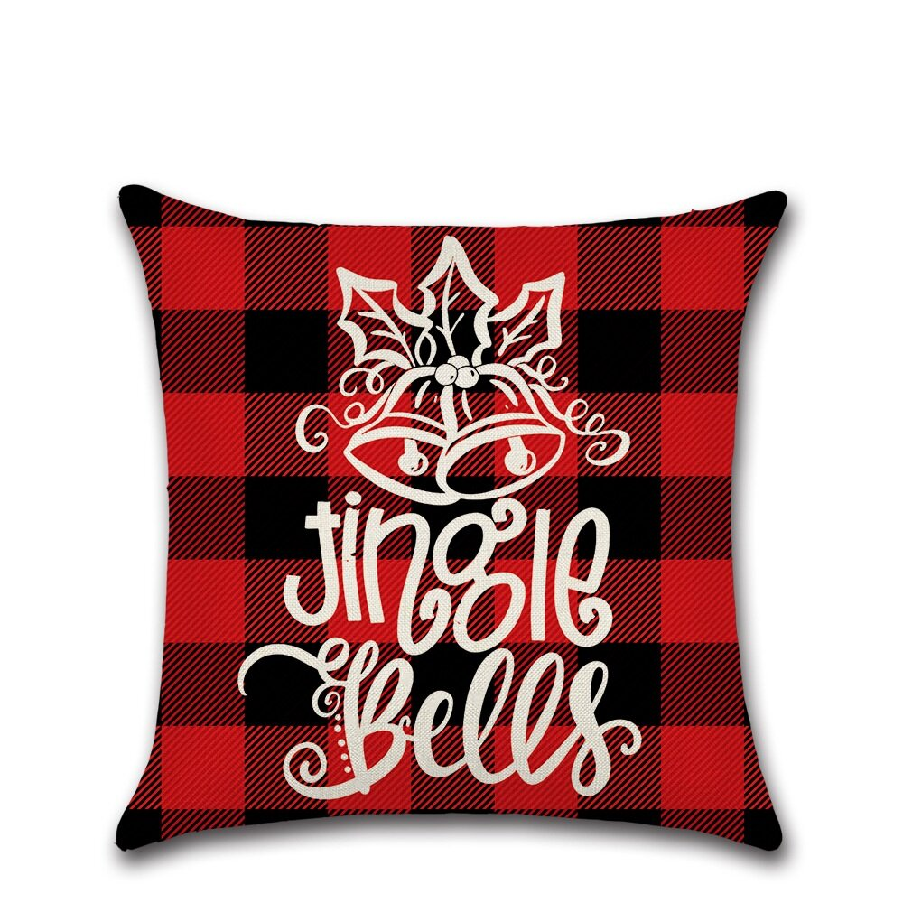 Classical Red&Black Lattice Christmas Throw Pillow Case Home Sofa Cushion Cover Christmas Gift Decor