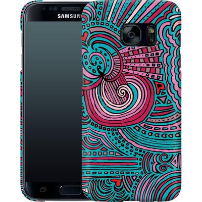 Samsung Galaxy S7 Smartphone Huelle - Drawing Meditation Turquoise von Kaitlyn Parker