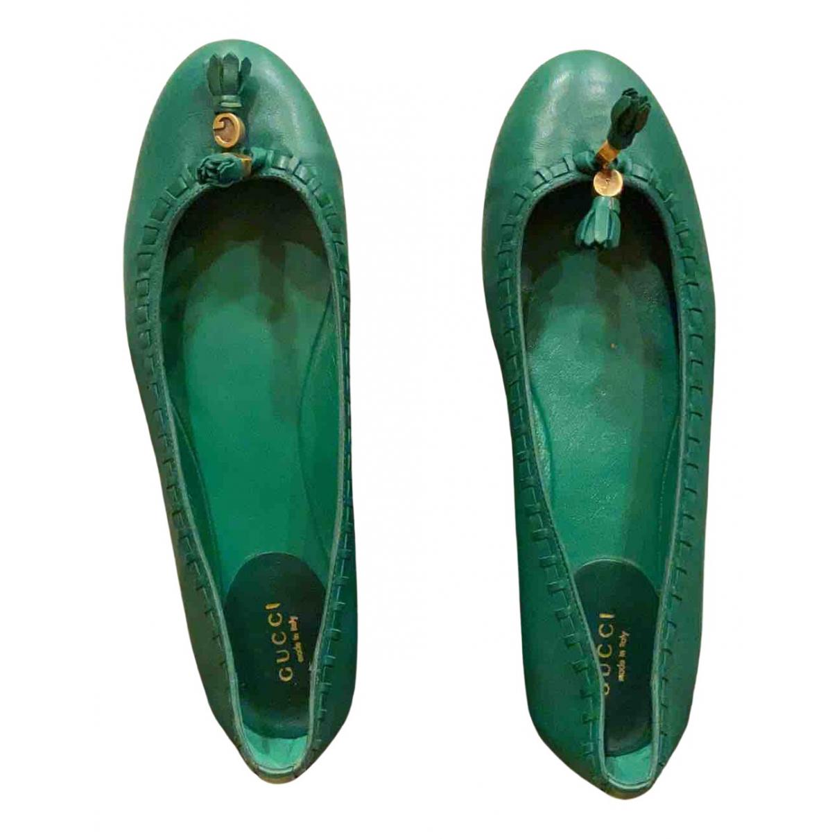 Gucci - Ballerines   pour femme en cuir - vert