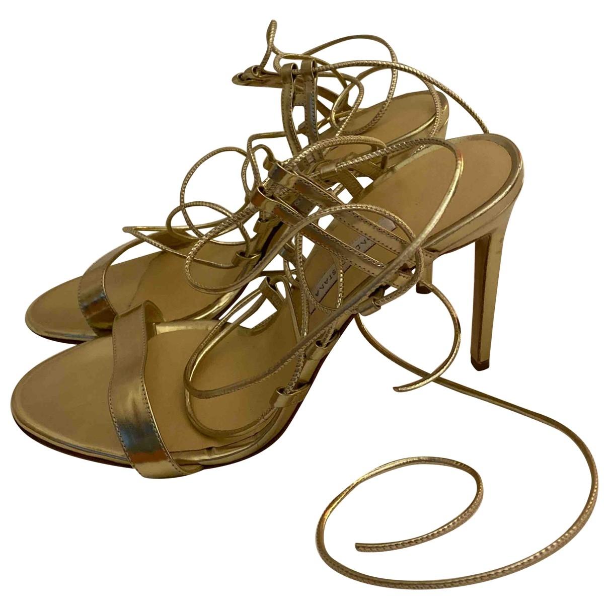 Bionda Castana \N Gold Leather Heels for Women 39 EU