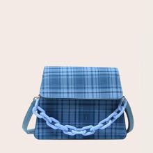 Plaid Flap Chain Satchel Bag