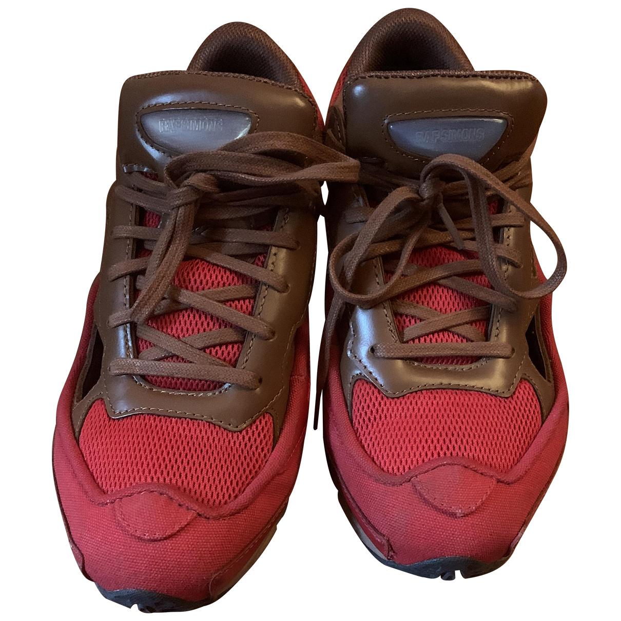 Adidas X Raf Simons Replicant Owzeego Sneakers in  Rot Leder
