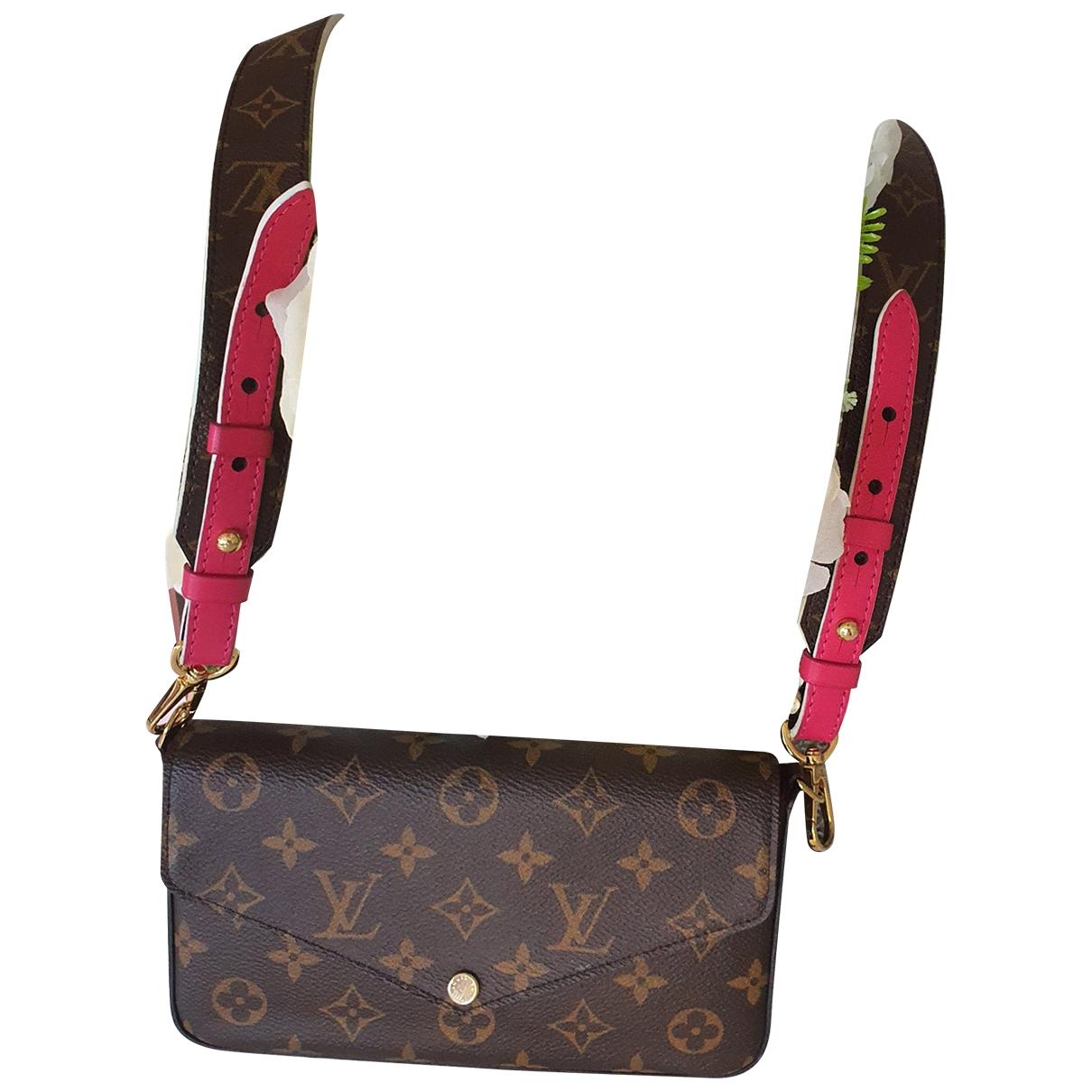 Louis Vuitton Felicie Clutch in  Braun Leinen