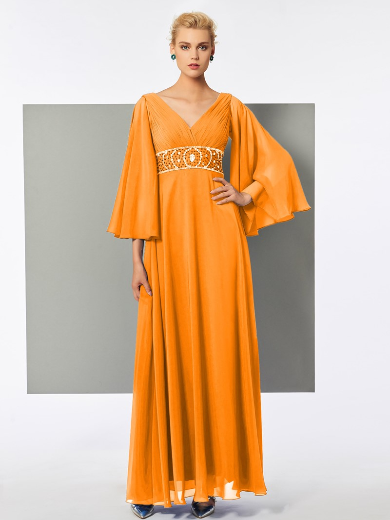 Ericdress A Line V Neck Half Sleeve Beaded Chiffon Evening Dress