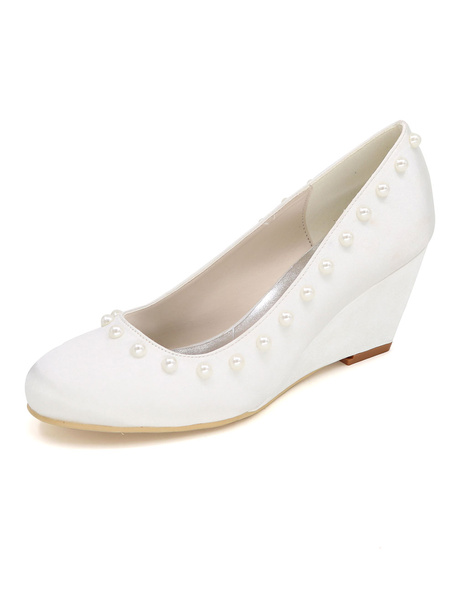 Milanoo Wedge Heel Boho Wedding Shoes Satin Mother Shoes Round Toe Wedge Pumps