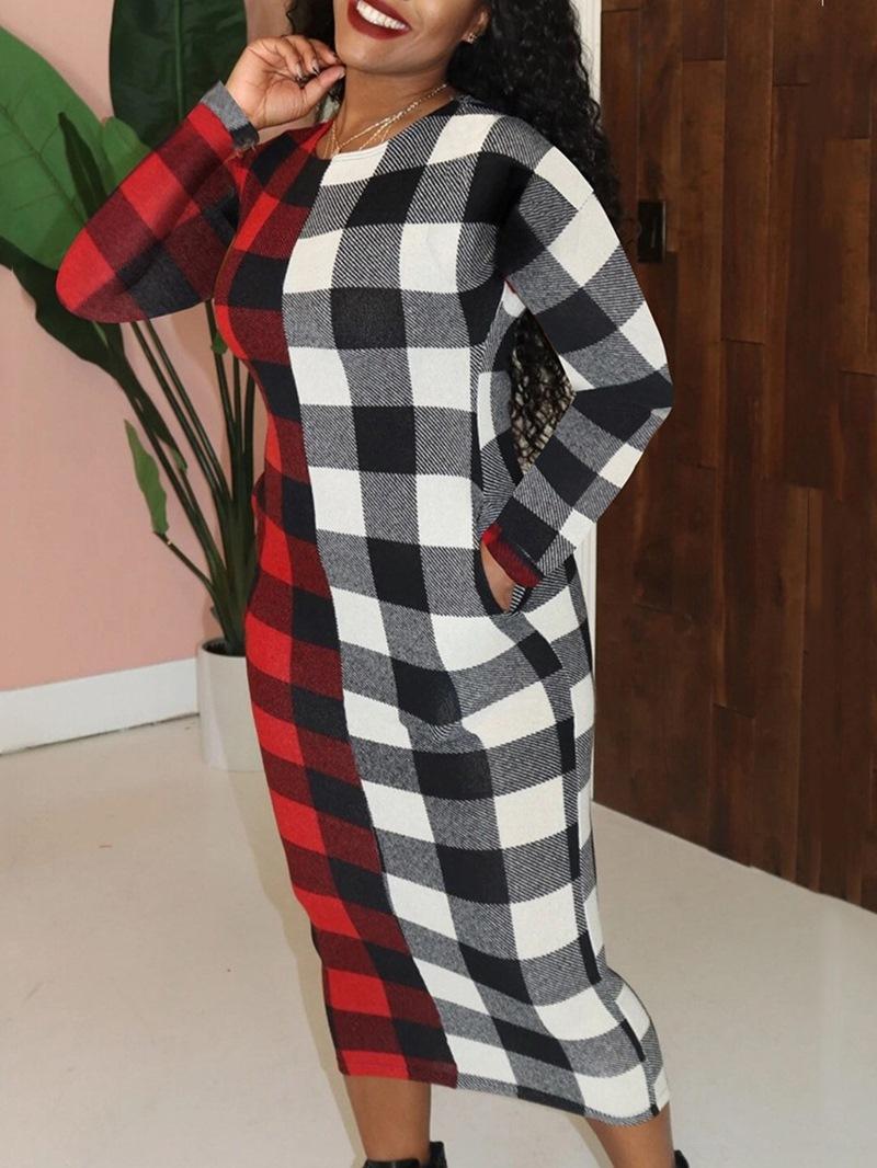 Ericdress Round Neck Print Mid-Calf Mid Waist Regular Dress