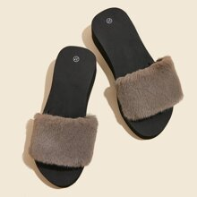 Faux Fur Thick Sole Slides