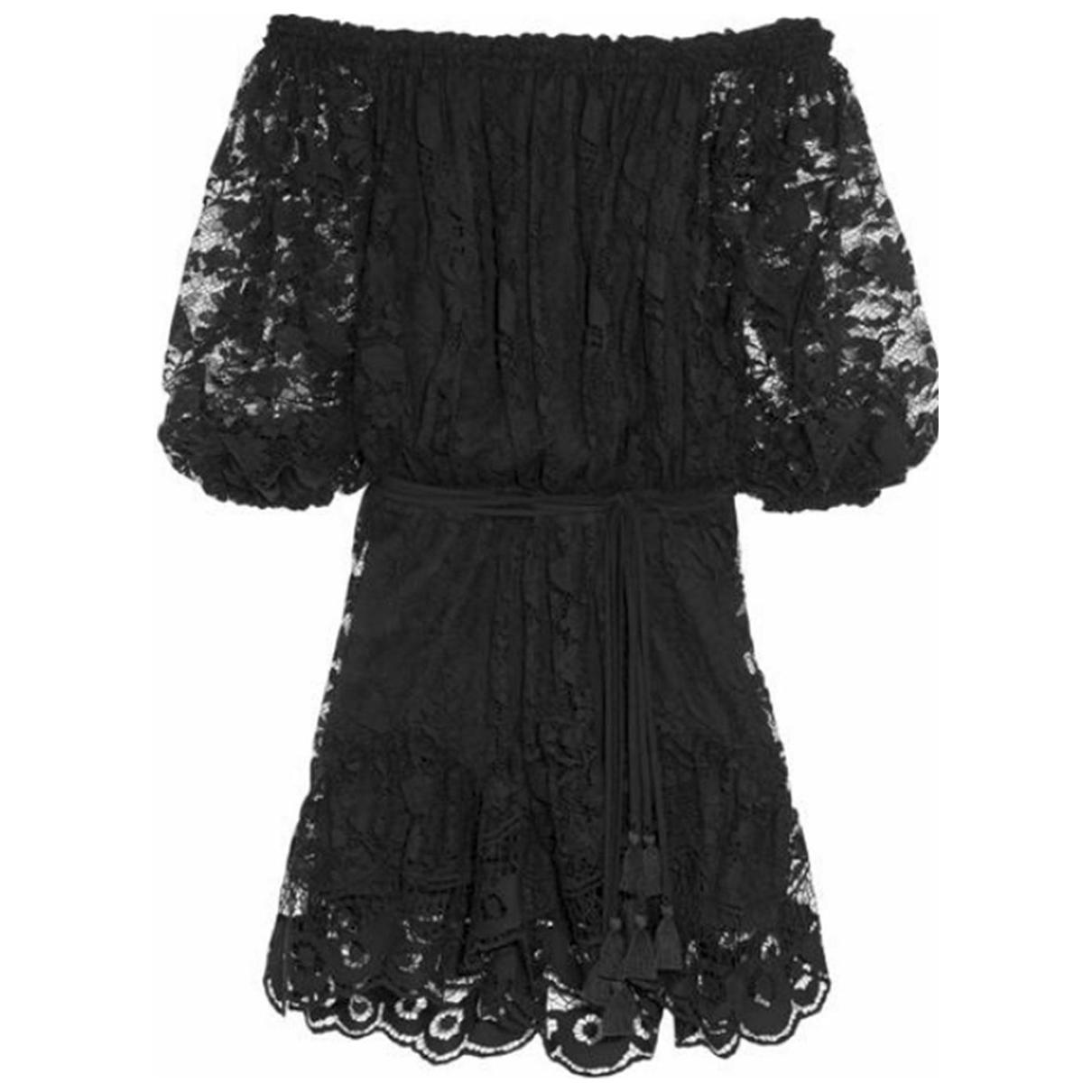 Chloe - Robe   pour femme en dentelle - noir