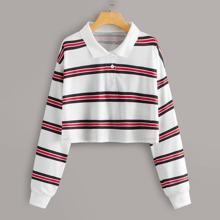 Striped Crop Polo Shirt