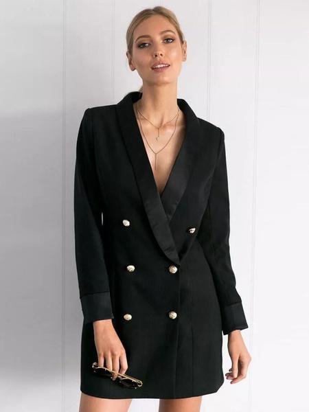 Milanoo Vestido blazer con botones plateado negro Vestido esmoquin chaqueta blazer