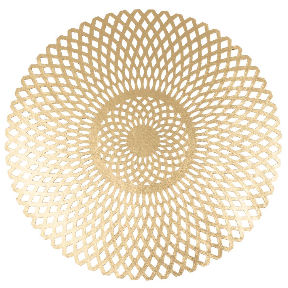 Rundes Tischset, goldfarben mit Lochmuster