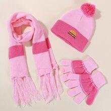 1pc Toddler Girls Beanie & 1pc Scarf & 1pair Gloves