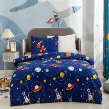 Kinder Bettwaesche Set mit Raumschiff Muster ohne Fuellstoff