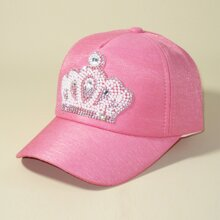 Girls Rhinestone Crown Baseball Cap