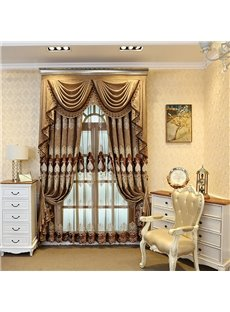Luxury Brown Color with Embroidered Flowers 2 Pieces Living Room and Bedroom Custom Sheer Curtain