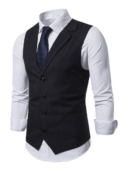 Milanoo Men Waistcoat Vest Plaid Notch Collar Buttons Dress Gilet Clubwear