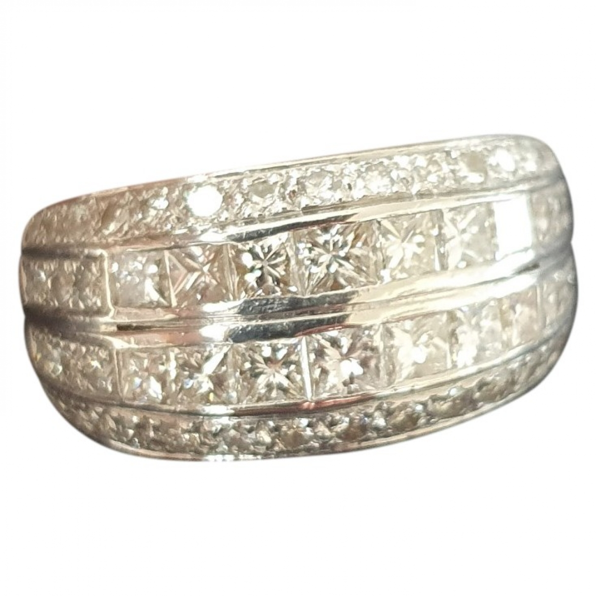 Non Signe / Unsigned Bagues Cocktails Ring in  Weiss Weissgold