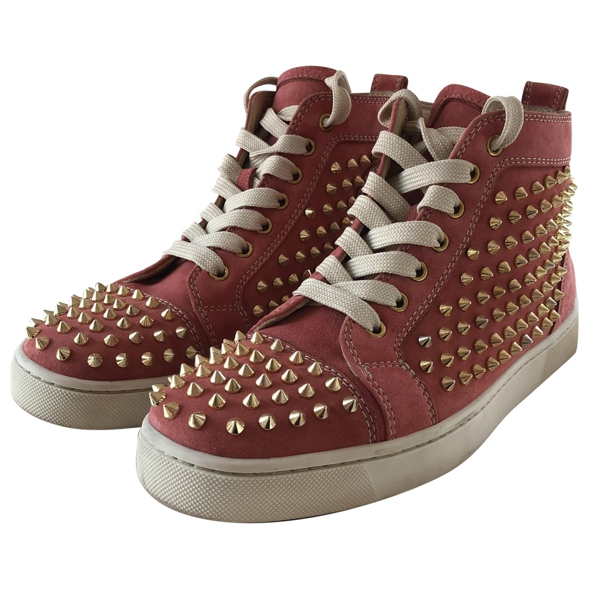 Christian Louboutin Lou Spikes Sneakers in  Rosa Leder