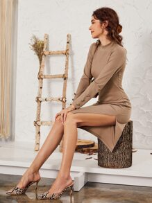 Mock-neck Split Hem Sweater Dress