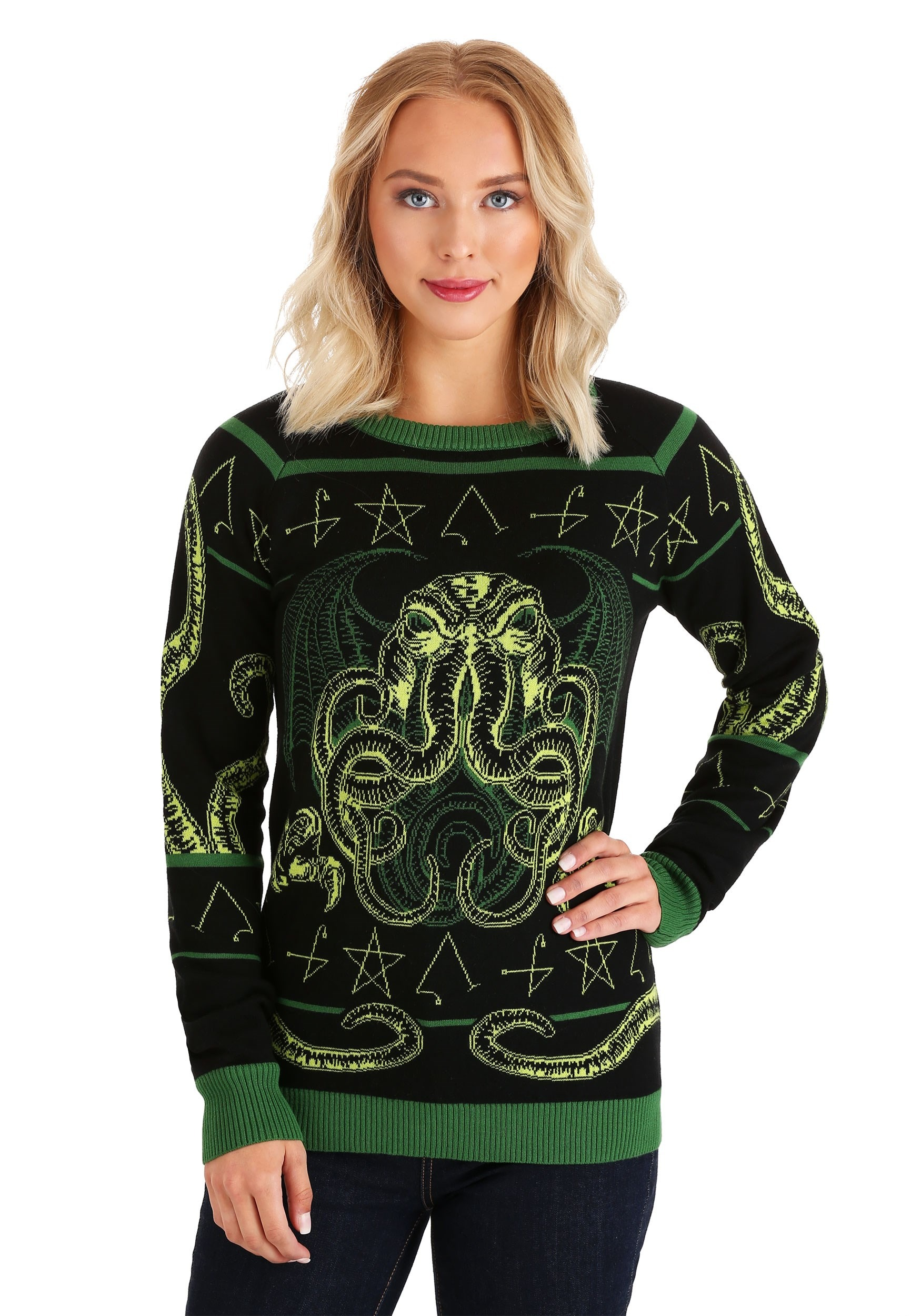 Rage of Cthulhu Adult Ugly Halloween Sweater for Adults
