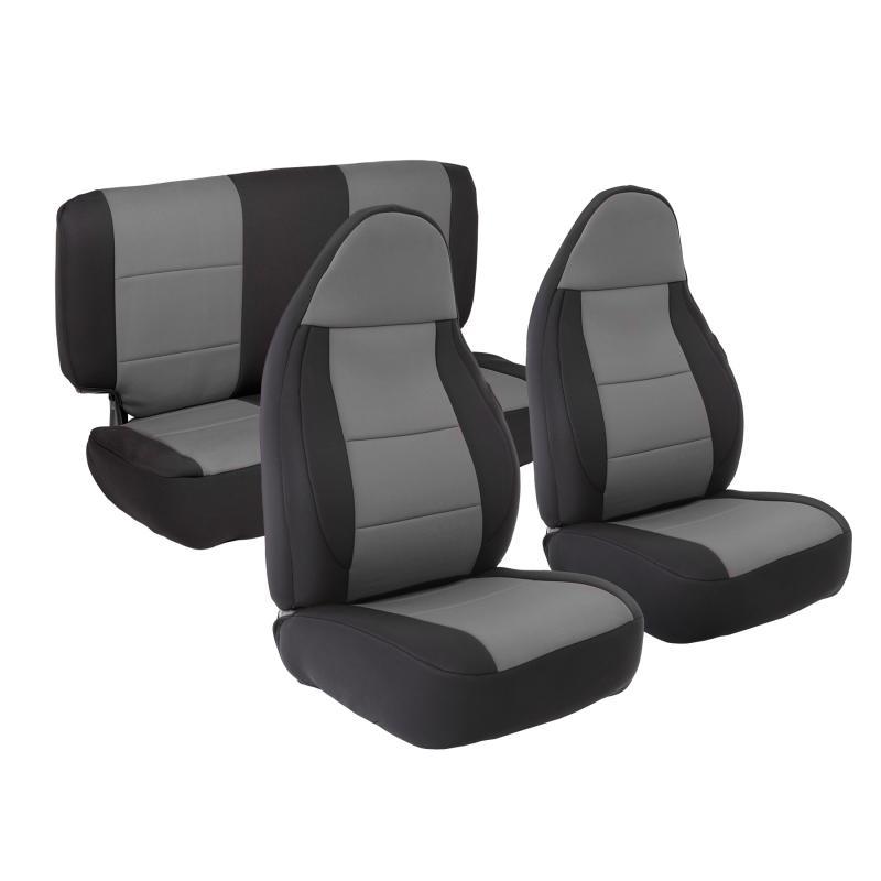 Neoprene Seat Cover 03-06 Wrangler TJ Set Front/Rear Charcoal Smittybilt