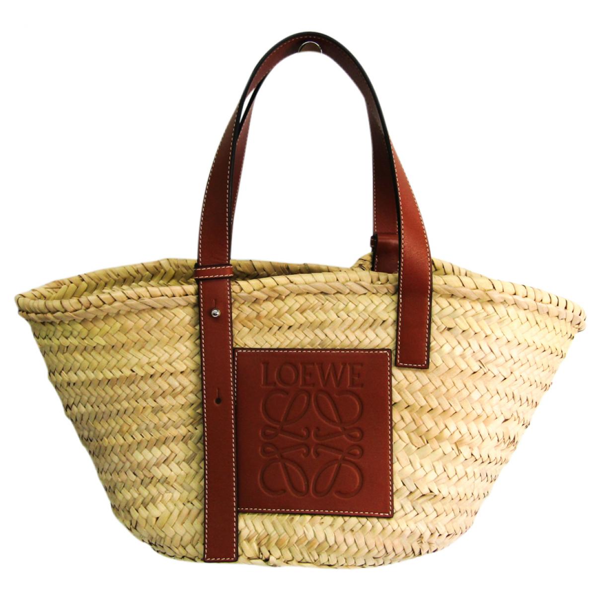 Bolso de mano Basket Bag en Paja Beige Loewe