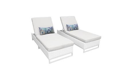 Miami MIAMI-2x Set of 2 Outdoor Wicker Patio Chaise - 1 Sail White
