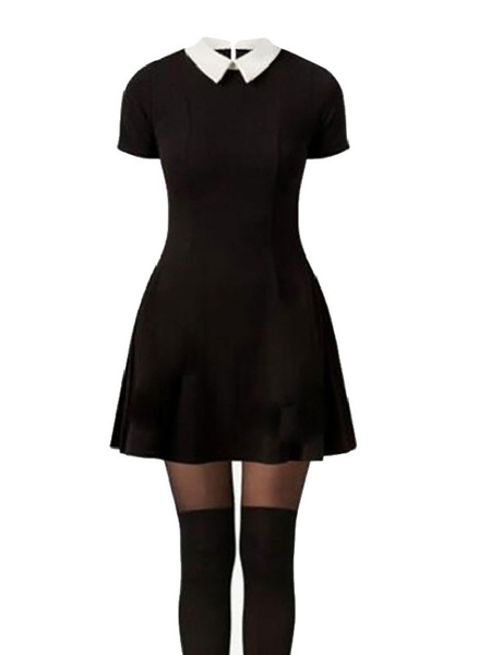 Milanoo Addams Family Values Wednesday Addams Dress Disfraz de Cosplay Halloween