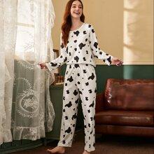 Cow Print PJ Set