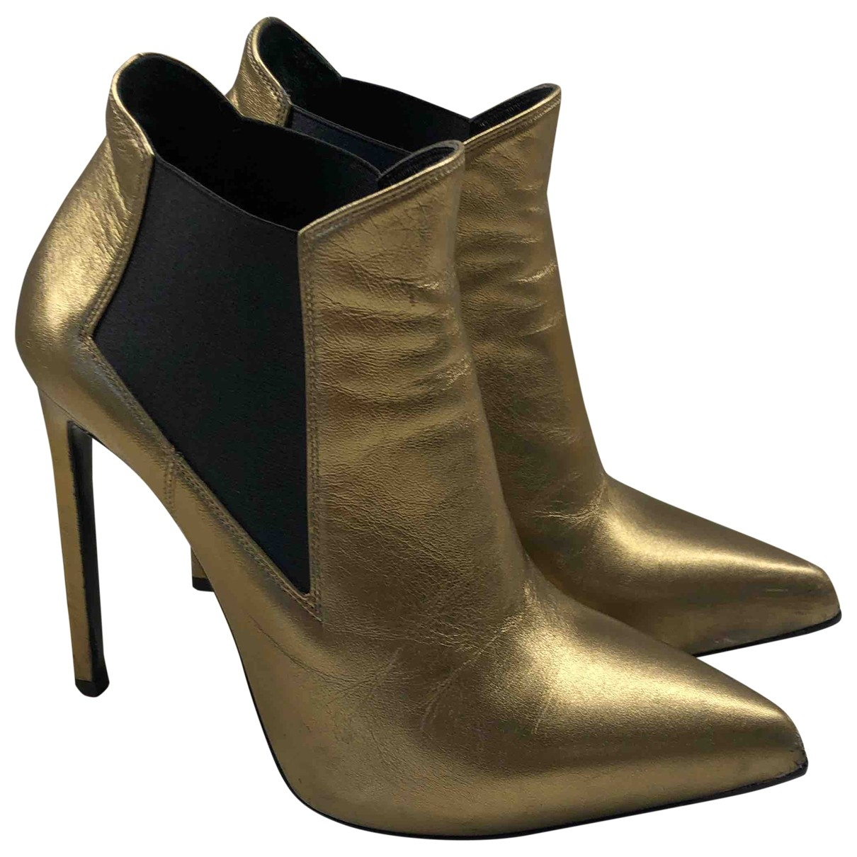 Saint Laurent \N Metallic Leather Ankle boots for Women 36 EU