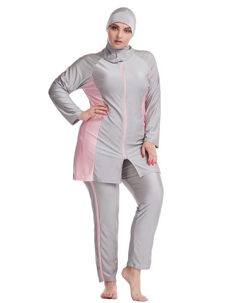 Milanoo Muslim Swimsuit Women Burkini Long Sleeve Nylon Beach Bathing Suit