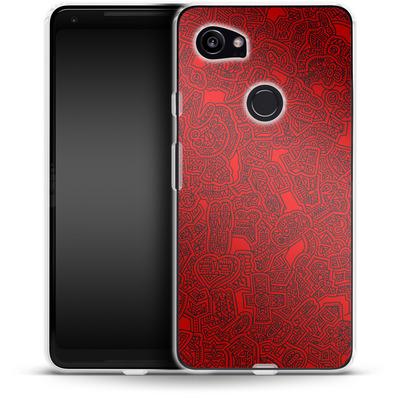 Google Pixel 2 XL Silikon Handyhuelle - Red Black von Mattartiste