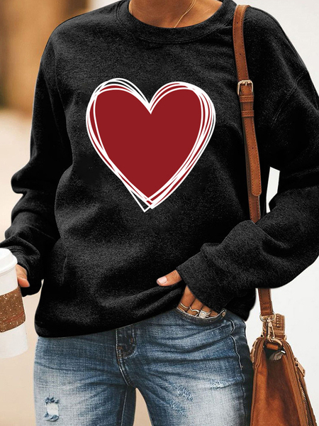 Yoins Red Heart Graphic Print Crew Neck Long Sleeves Sweatshirt