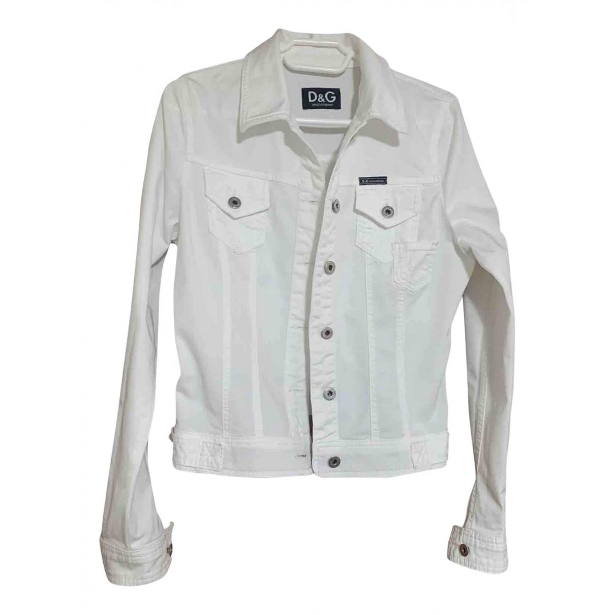 D&g \N White Cotton jacket for Women 42 IT