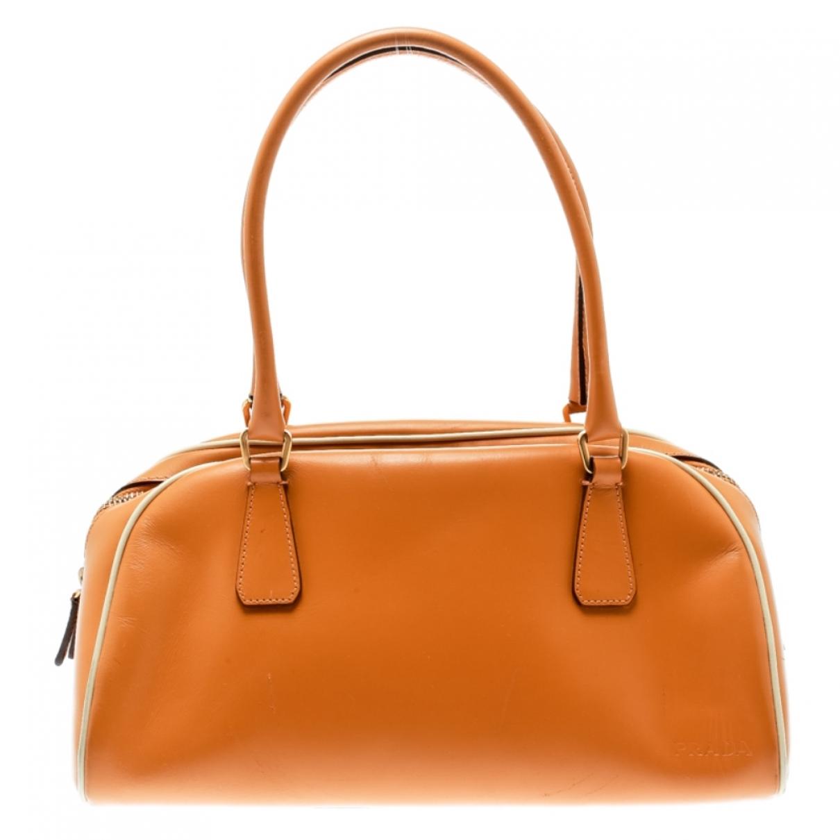 Prada - Sac a main   pour femme en cuir - orange