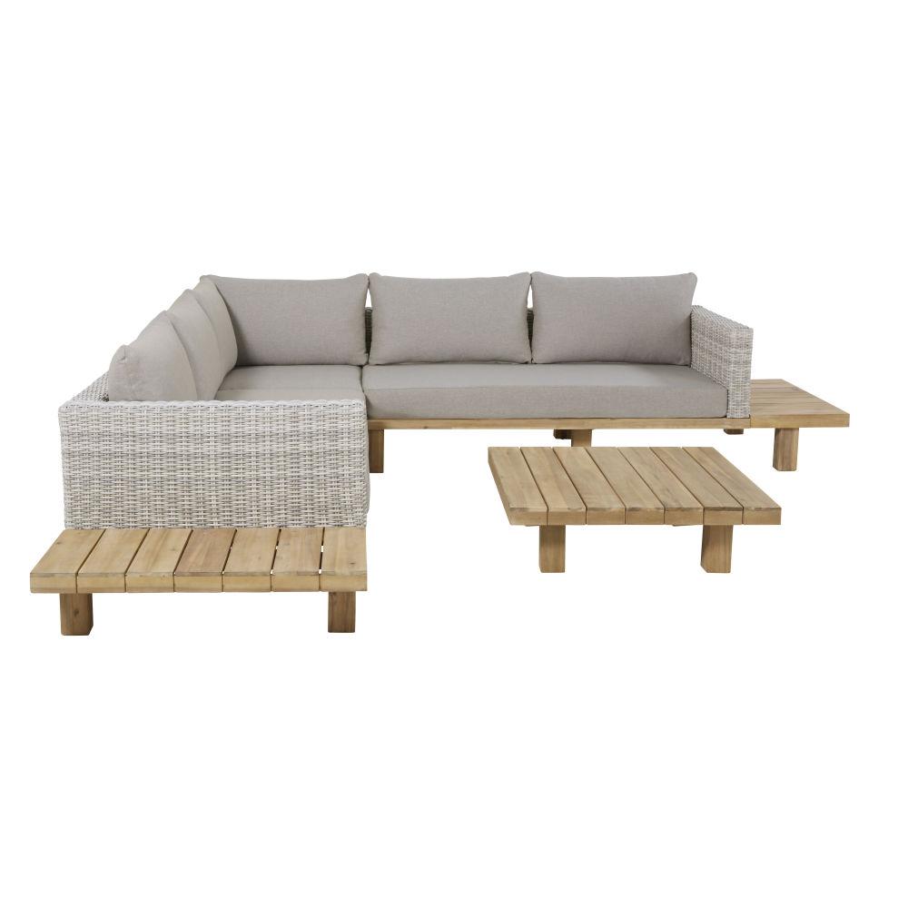 4/6-Sitzer-Gartenmobel aus massivem Akazienholz und grauem Segeltuch Tillandsia
