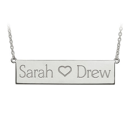 Personalized 12x56mm Name Plate Necklace, One Size , White