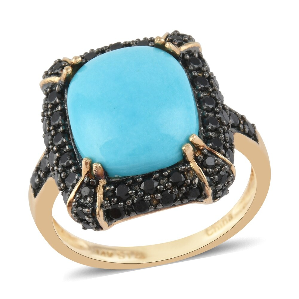Yellow Gold Turquoise Black Spinel Ring Size 7 Ct 4.2 - Ring 7 (Blue - Blue - Yellow - Turquoise - Ring 7)